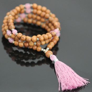 "Stretch Mala Kit - ""Pink Opal"" & Bayong Wood"