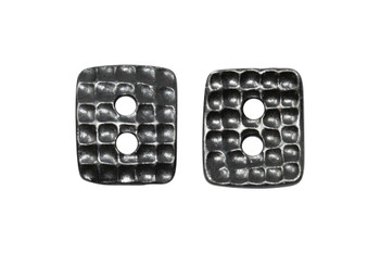Hammered Rectangle Button - Gunmetal