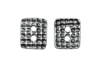 Hammered Rectangle Button - Antique Pewter
