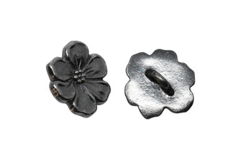 Apple Blossom Button - Gunmetal
