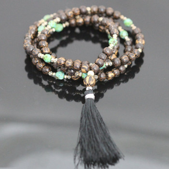 "Stretch Mala Kit - ""Turquoise"" & Palm Wood"