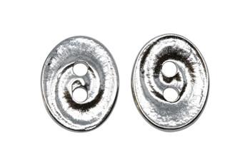 Swirl Button - Rhodium Plated
