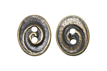 Swirl Button - Brass Plated