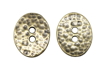 Distressed Oval Button - Brass Plated