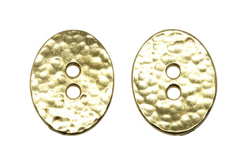 Distressed Oval Button - Gold Plated