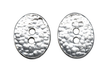 Distressed Oval Button - Rhodium Plated