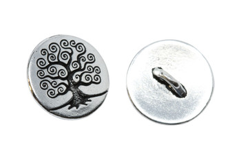 Tree of Life Button - Silver Plated