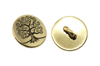 Tree of Life Button - Gold Plated