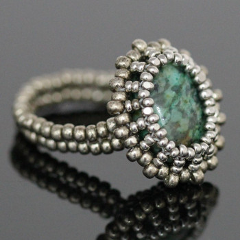 Bezeled Beaded Ring Kit - African Turquoise Jasper
