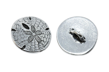 Sand Dollar Button - Silver Plated