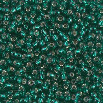Size 8 Miyuki Seed Beads -- 17 Peacock Green Silver Lined