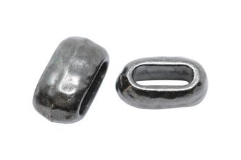 Distressed 6x2mm Barrel Bead - Black Plated