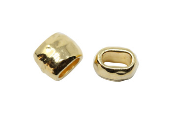 Distressed 4x2mm Barrel Bead - Gold Plated