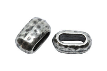 Distressed 6x2mm Barrel Bead - Antique Pewter Plated