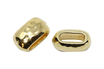 Distressed 6x2mm Barrel Bead - Gold Plated