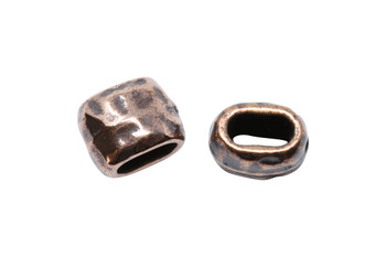 Distressed 4x2mm Barrel Bead - Antique Copper Plated