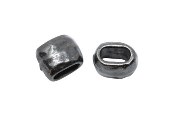 Distressed 4x2mm Barrel Bead - Black Plated