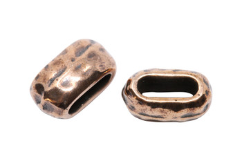 Distressed 6x2mm Barrel Bead - Antique Copper Plated