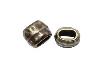 Distressed 4x2mm Barrel Bead - Brass Plated