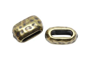 Distressed 6x2mm Barrel Bead - Brass Plated