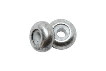 Silicone Rondel Bead - 8x4mm Antique Silver