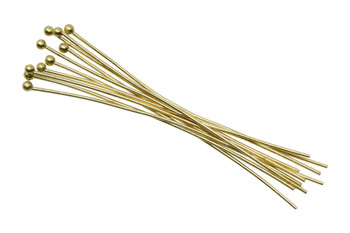 """Gold Plated 2"""" Long 20 Gauge Ball End Head Pins - 20 Pieces"""