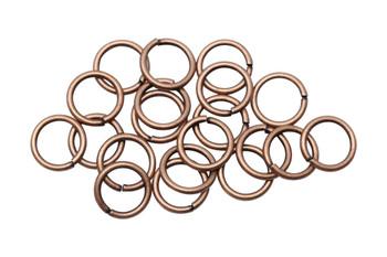Antique Copper 8mm Round 18 Gauge OPEN Jump Rings - 20 Pieces