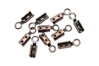Antique Copper 1mm Crimp Ends - 10 Pieces