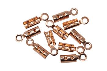 Copper Plated 1mm Crimp Ends - 10 Pieces