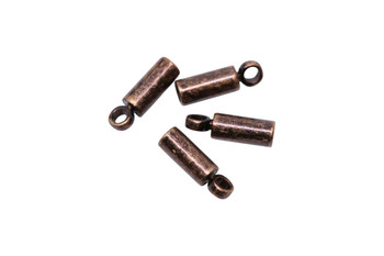 Antique Copper 1mm Glue In End Cap - 2 Pairs