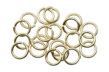 Satin Hamilton Gold Plated 6mm Round 21 Gauge OPEN Jump Rings - 20 Pieces