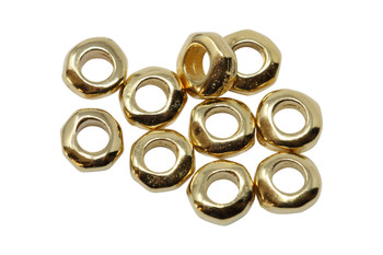 Gold Plated 5mm Nugget 2mm Hole Bead - 10 Pieces
