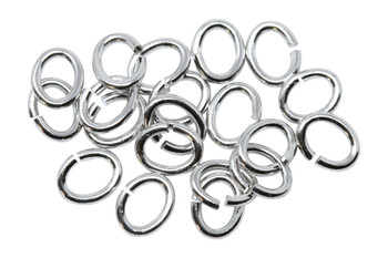 Rhodium Plated Large Oval OPEN Jump Rings - 20 Pieces