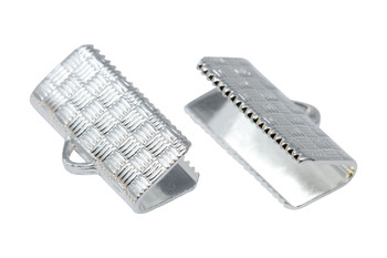 Silver Plated 17mm Flat Crimp Ends - 6 Pieces