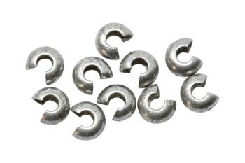 Antique Silver 4mm Crimp Covers - 10 Pieces