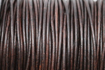 Natural Antique Brown 1.5mm Leather Cord - Sold by the Foot