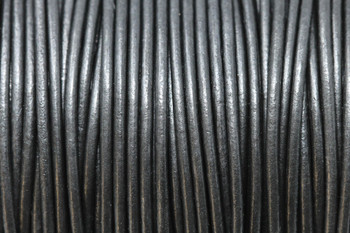 Gunmetal 1.5mm Leather Cord - Sold by the Foot