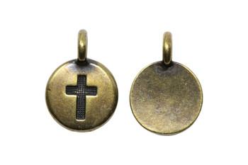 Cross Charm - Brass Plated