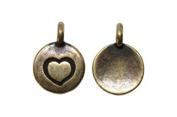 Heart Charm - Brass Plated