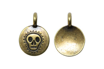 Skull Charm - Brass Plated