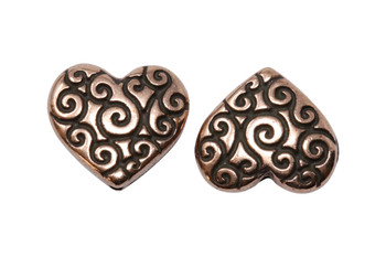 Scroll Heart Bead - Copper Plated
