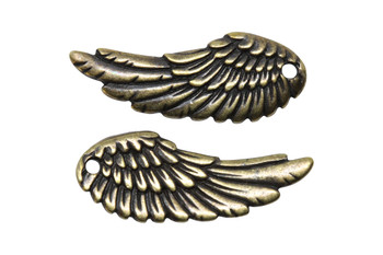 Wing Charm - Brass Plated