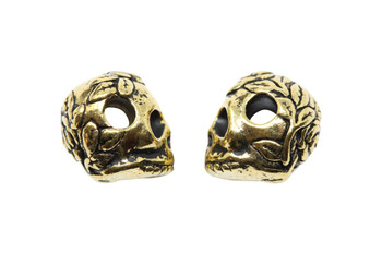 Skull Large Hole Bead - Gold Plated