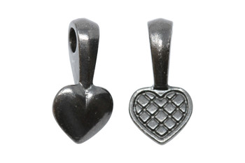 Heart Glue-on Pad - Black Plated