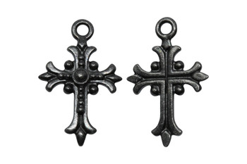 Fleur Cross  - Black Plated