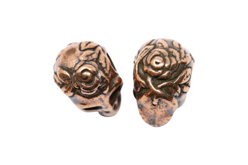 Skull Large Hole Bead - Copper Plated
