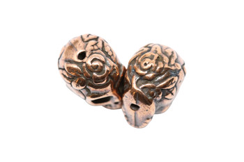 Rose Skull Bead - Copper Plated