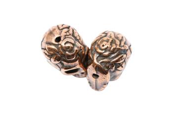 Rose Skull Bead - Copper Plated