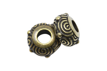 Spiral Euro Bead  - Brass Plated