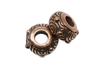 Spiral Euro Bead  - Copper Plated